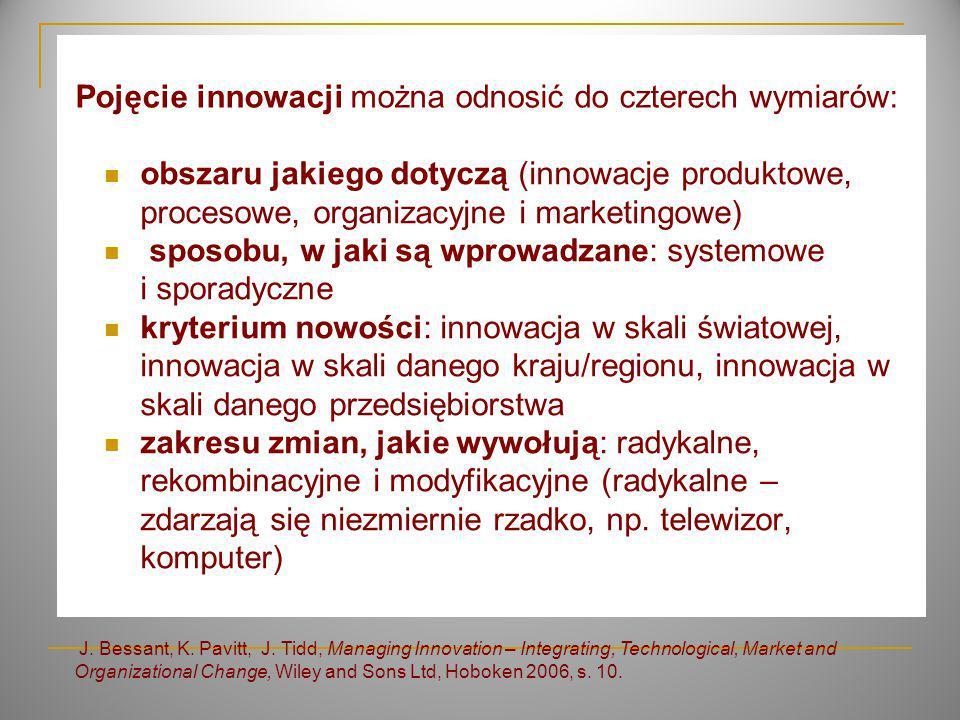 Pojęcie innowacji można odnosić do czterech wymiarów: J.