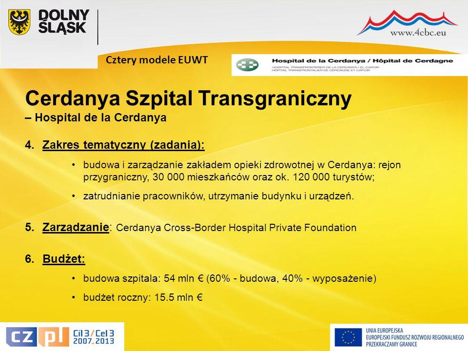 12 Cztery modele EUWT 4.Zakres tematyczny (zadania): budowa i zarządzanie zakładem opieki zdrowotnej w Cerdanya: rejon przygraniczny, 30 000 mieszkańców oraz ok.