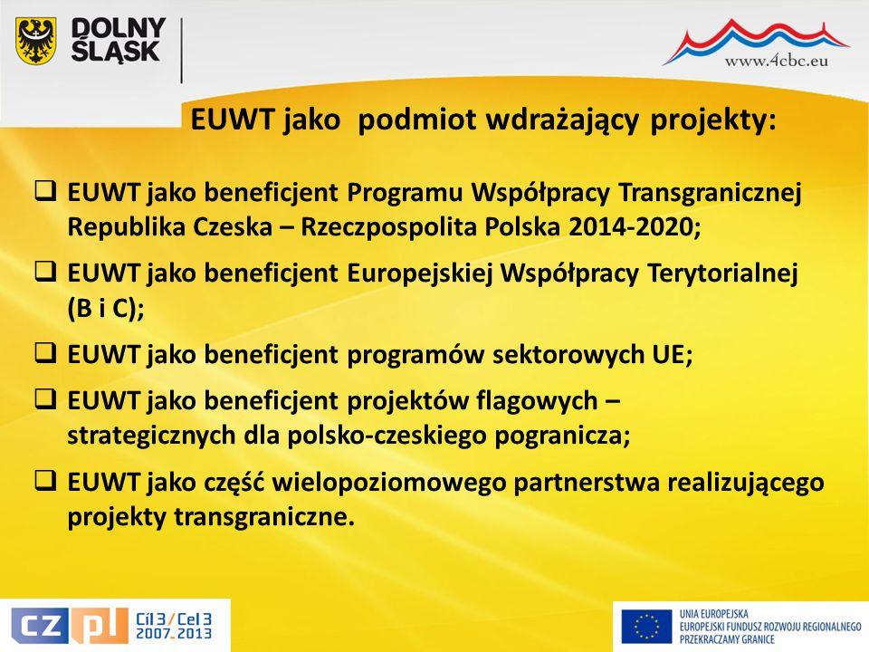 15 EUWT jako podmiot wdrażający projekty:  EUWT jako beneficjent Programu Współpracy Transgranicznej Republika Czeska – Rzeczpospolita Polska 2014-2020;  EUWT jako beneficjent Europejskiej Współpracy Terytorialnej (B i C);  EUWT jako beneficjent programów sektorowych UE;  EUWT jako beneficjent projektów flagowych – strategicznych dla polsko-czeskiego pogranicza;  EUWT jako część wielopoziomowego partnerstwa realizującego projekty transgraniczne.