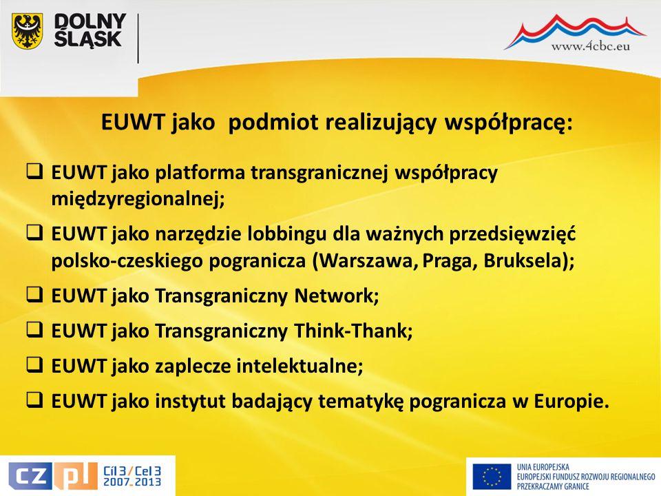 16  EUWT jako platforma transgranicznej współpracy międzyregionalnej;  EUWT jako narzędzie lobbingu dla ważnych przedsięwzięć polsko-czeskiego pogranicza (Warszawa, Praga, Bruksela);  EUWT jako Transgraniczny Network;  EUWT jako Transgraniczny Think-Thank;  EUWT jako zaplecze intelektualne;  EUWT jako instytut badający tematykę pogranicza w Europie.