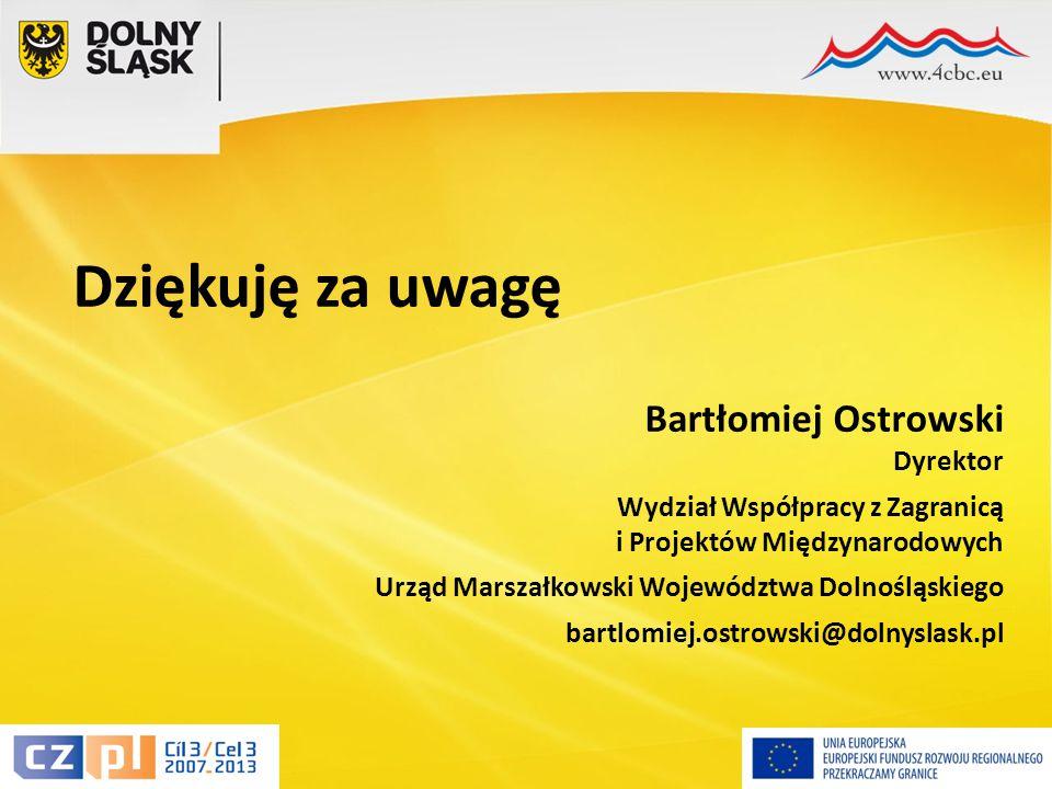 19 Dziękuję za uwagę Bartłomiej Ostrowski Dyrektor Wydział Współpracy z Zagranicą i Projektów Międzynarodowych Urząd Marszałkowski Województwa Dolnośląskiego bartlomiej.ostrowski@dolnyslask.pl