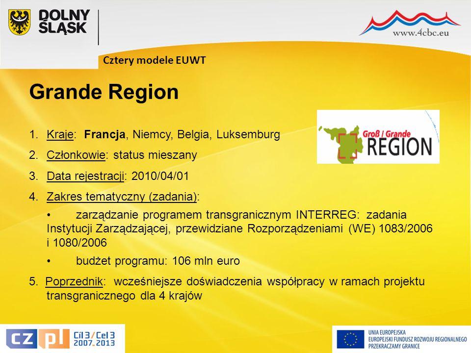8 1.Kraje: Francja, Niemcy, Belgia, Luksemburg 2.Członkowie: status mieszany 3.Data rejestracji: 2010/04/01 4.Zakres tematyczny (zadania): zarządzanie programem transgranicznym INTERREG: zadania Instytucji Zarządzającej, przewidziane Rozporządzeniami (WE) 1083/2006 i 1080/2006 budżet programu: 106 mln euro 5.