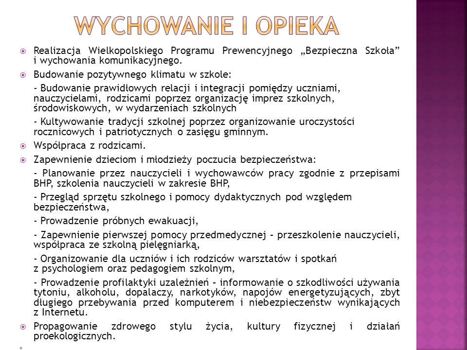 """ Realizacja Wielkopolskiego Programu Prewencyjnego """"Bezpieczna Szkoła i wychowania komunikacyjnego."""