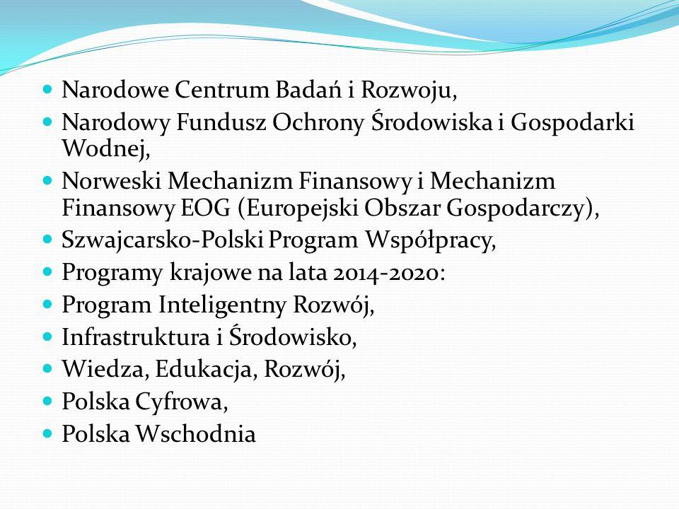Narodowe Centrum Badań i Rozwoju, Narodowy Fundusz Ochrony Środowiska i Gospodarki Wodnej, Norweski Mechanizm Finansowy i Mechanizm Finansowy EOG (Europejski Obszar Gospodarczy), Szwajcarsko-Polski Program Współpracy, Programy krajowe na lata 2014-2020: Program Inteligentny Rozwój, Infrastruktura i Środowisko, Wiedza, Edukacja, Rozwój, Polska Cyfrowa, Polska Wschodnia