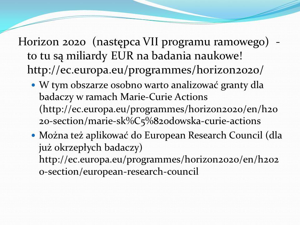 Horizon 2020 (następca VII programu ramowego) - to tu są miliardy EUR na badania naukowe.