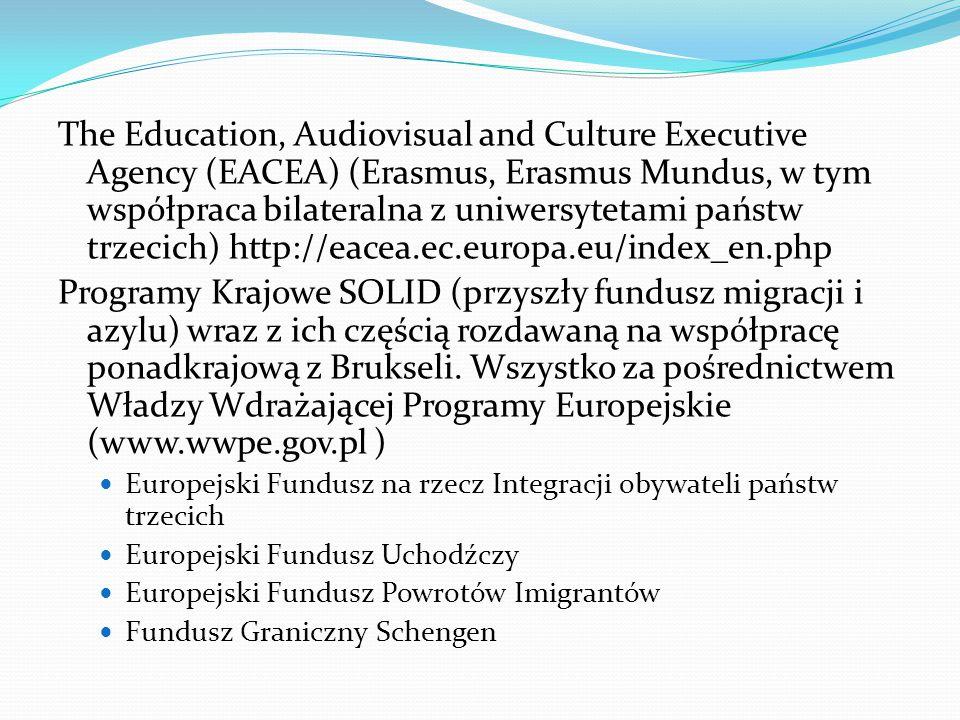 The Education, Audiovisual and Culture Executive Agency (EACEA) (Erasmus, Erasmus Mundus, w tym współpraca bilateralna z uniwersytetami państw trzecich) http://eacea.ec.europa.eu/index_en.php Programy Krajowe SOLID (przyszły fundusz migracji i azylu) wraz z ich częścią rozdawaną na współpracę ponadkrajową z Brukseli.