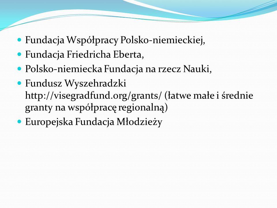 Fundacja Współpracy Polsko-niemieckiej, Fundacja Friedricha Eberta, Polsko-niemiecka Fundacja na rzecz Nauki, Fundusz Wyszehradzki http://visegradfund.org/grants/ (łatwe małe i średnie granty na współpracę regionalną) Europejska Fundacja Młodzieży