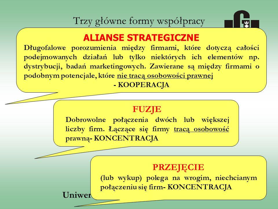 Uniwersytet Gdański, Wydział Zarządzania ALIANSE STRATEGICZNE Długofalowe porozumienia między firmami, które dotyczą całości podejmowanych działań lub