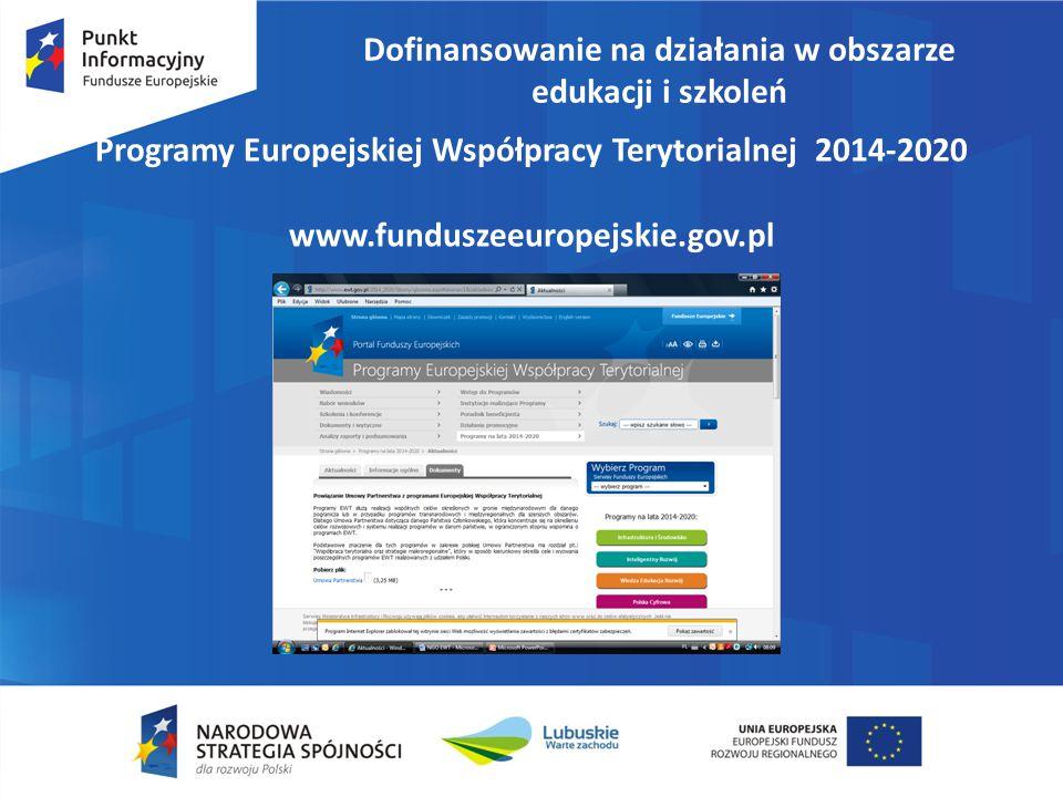 Dofinansowanie na działania w obszarze edukacji i szkoleń Program Współpracy INTERREG Polska- Saksonia 2014-2020 (29 sierpnia 2014 r.
