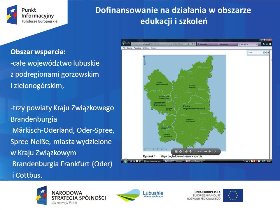 Dofinansowanie na działania w obszarze edukacji i szkoleń Typy działań: - Tworzenie wspólnych programów nauczania zawodowego we współpracy z pracodawcami z Polski i Niemiec, -Realizacja projektów edukacyjnych i wychowawczych dla dzieci i młodzieży – rozwój i nawiązywanie współpracy międzyszkolne, - Utworzenie kompleksowej i szerokiej oferty kształcenia z zakresu edukacji ekologicznej w zakresie obszarów środowisko i trwałość, -Rozwój sieci innowacyjnych w zakresie badawczo-rozwojowym w ramach programów kształcenia ustawicznego przy udziale szkół wyższych i przedsiębiorców.