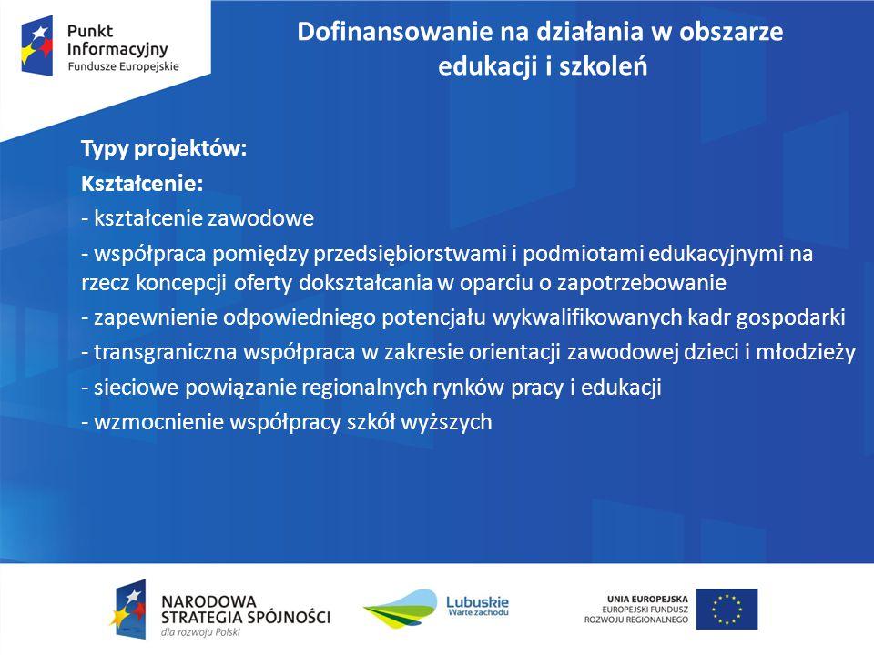 Dofinansowanie na działania w obszarze edukacji i szkoleń Typy projektów: Kształcenie c.d: - jakościowa poprawa wyposażenia placówek edukacyjnych na rzecz współpracy edukacyjnej - inwestycje na rzecz wprowadzania transgranicznej oferty e-learningu - edukacja na rzecz trwałego rozwoju - edukacja językowa Dokształcanie: - dokształcenie – z priorytetem kwalifikacji transgranicznych -współpraca podmiotów kształcenia ustawicznego (np.