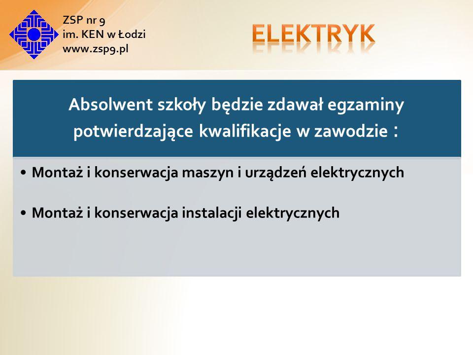 Absolwent szkoły będzie zdawał egzaminy potwierdzające kwalifikacje w zawodzie : Montaż i konserwacja maszyn i urządzeń elektrycznych Montaż i konserwacja instalacji elektrycznych ZSP nr 9 im.
