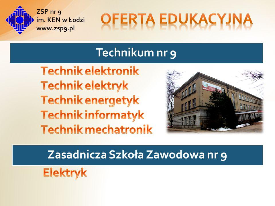 Absolwent szkoły będzie zdawał egzaminy potwierdzające kwalifikacje : Montaż urządzeń i systemów mechatronicznych Eksploatacja urządzeń i systemów mechatronicznych Projektowanie i programowanie urządzeń i systemów mechatronicznych ZSP nr 9 im.