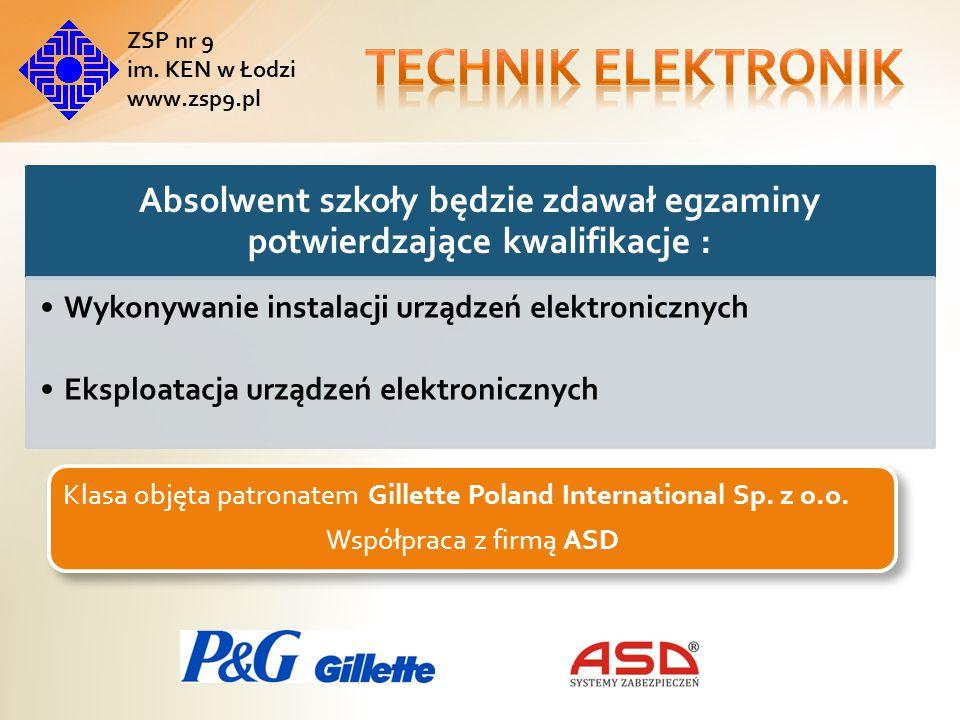 Szkoła jest ośrodkiem egzaminacyjnym potwierdzającym kwalifikacje w zawodach: Technik elektronik Technik elektryk Technik energetyk Technik informatyk Technik mechatronik ZSP nr 9 im.