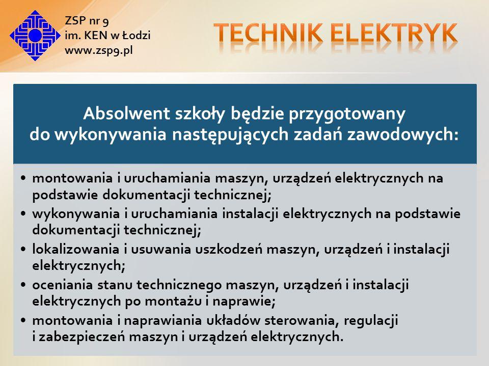 Absolwent szkoły będzie zdawał egzaminy potwierdzające kwalifikacje : Montaż i konserwacja maszyn i urządzeń elektrycznych Montaż i konserwacja instalacji elektrycznych Eksploatacja maszyn, urządzeń i instalacji elektrycznych ZSP nr 9 im.