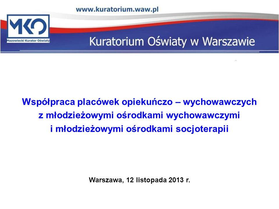 Współpraca placówek opiekuńczo – wychowawczych z młodzieżowymi ośrodkami wychowawczymi i młodzieżowymi ośrodkami socjoterapii Warszawa, 12 listopada 2