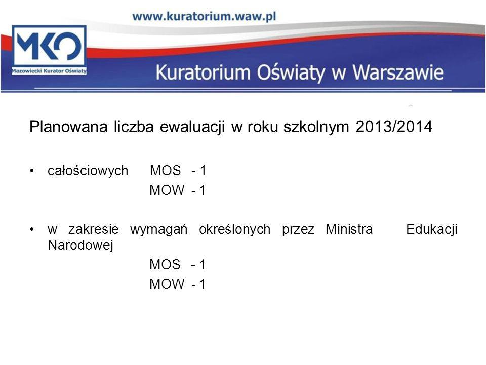 Planowana liczba ewaluacji w roku szkolnym 2013/2014 całościowych MOS - 1 MOW - 1 w zakresie wymagań określonych przez Ministra Edukacji Narodowej MOS