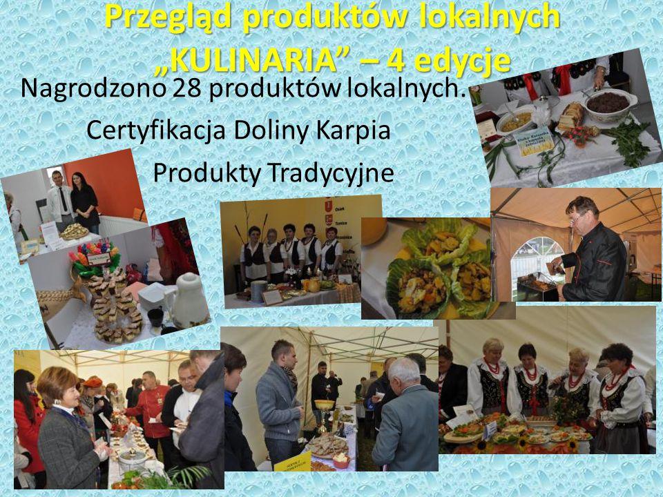 """Przegląd produktów lokalnych """"KULINARIA – 4 edycje Nagrodzono 28 produktów lokalnych."""