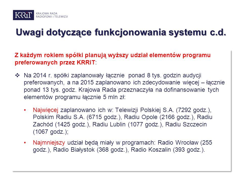 Uwagi dotyczące funkcjonowania systemu c.d. Z każdym rokiem spółki planują wyższy udział elementów programu preferowanych przez KRRiT:  Na 2014 r. sp