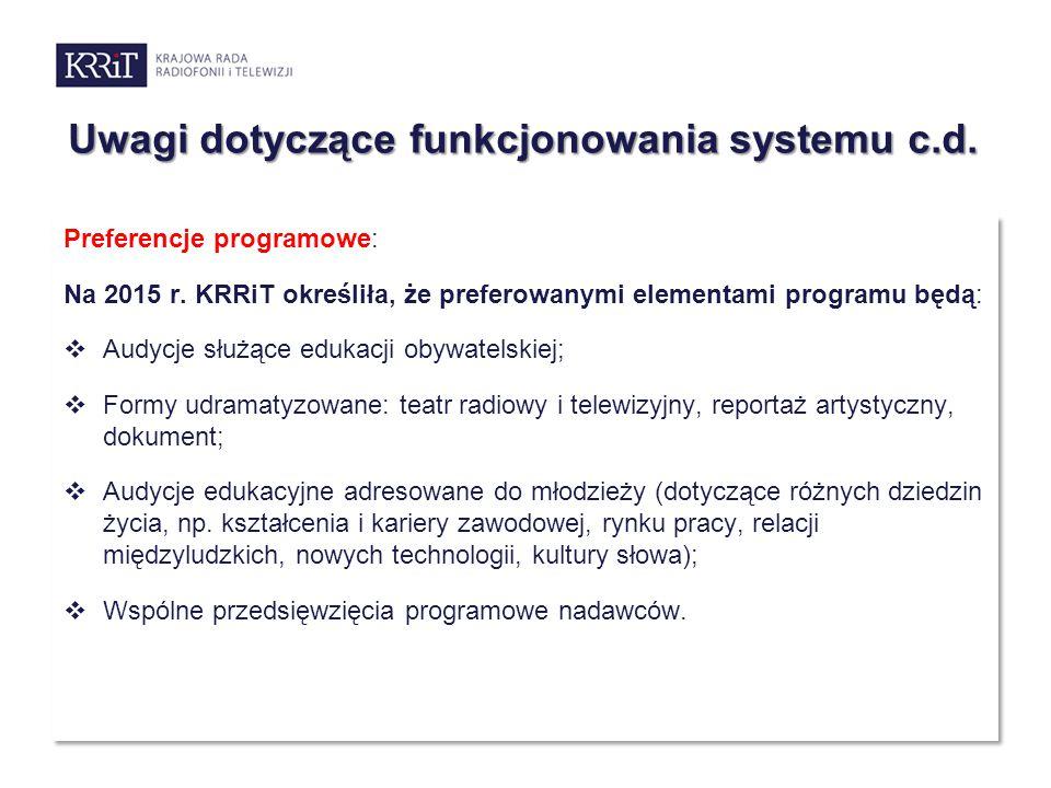 Uwagi dotyczące funkcjonowania systemu c.d. Preferencje programowe: Na 2015 r. KRRiT określiła, że preferowanymi elementami programu będą:  Audycje s