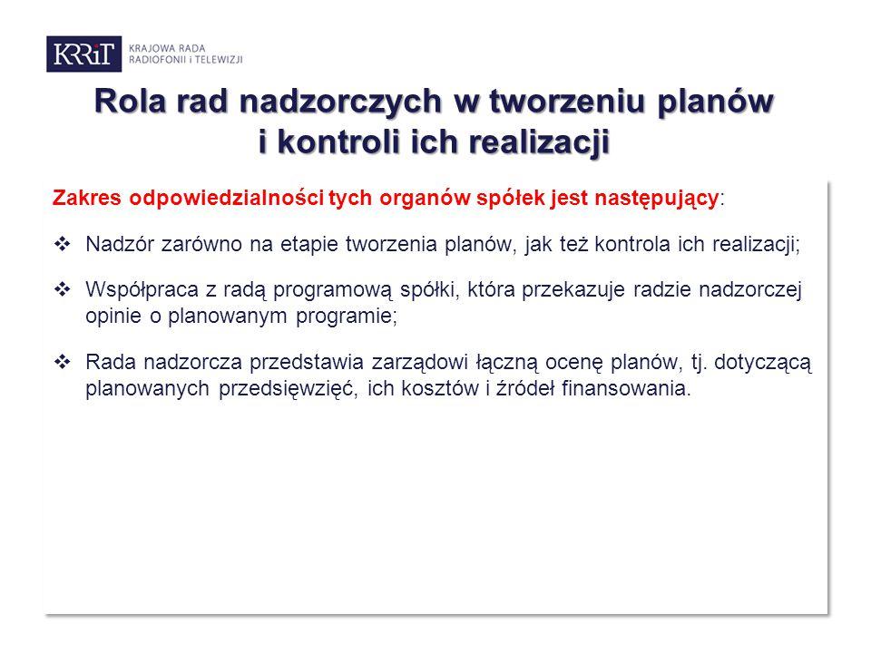 Rola rad nadzorczych w tworzeniu planów i kontroli ich realizacji Zakres odpowiedzialności tych organów spółek jest następujący:  Nadzór zarówno na e