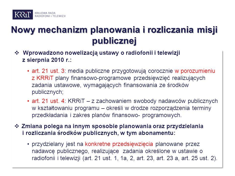 Nowy mechanizm planowania i rozliczania misji publicznej  Wprowadzono nowelizacją ustawy o radiofonii i telewizji z sierpnia 2010 r.: art. 21 ust. 3: