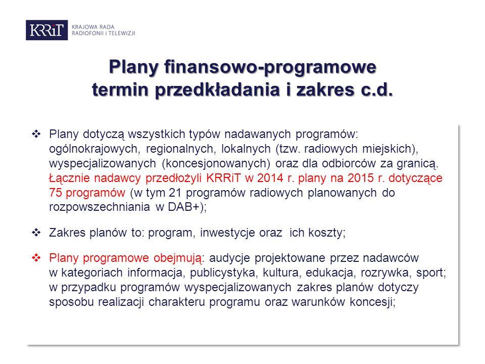  Plany dotyczą wszystkich typów nadawanych programów: ogólnokrajowych, regionalnych, lokalnych (tzw. radiowych miejskich), wyspecjalizowanych (konces