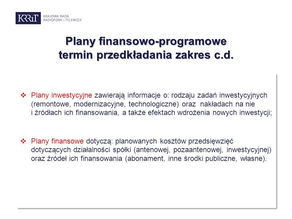 Plany finansowo-programowe termin przedkładania zakres c.d.  Plany inwestycyjne zawierają informacje o: rodzaju zadań inwestycyjnych (remontowe, mode