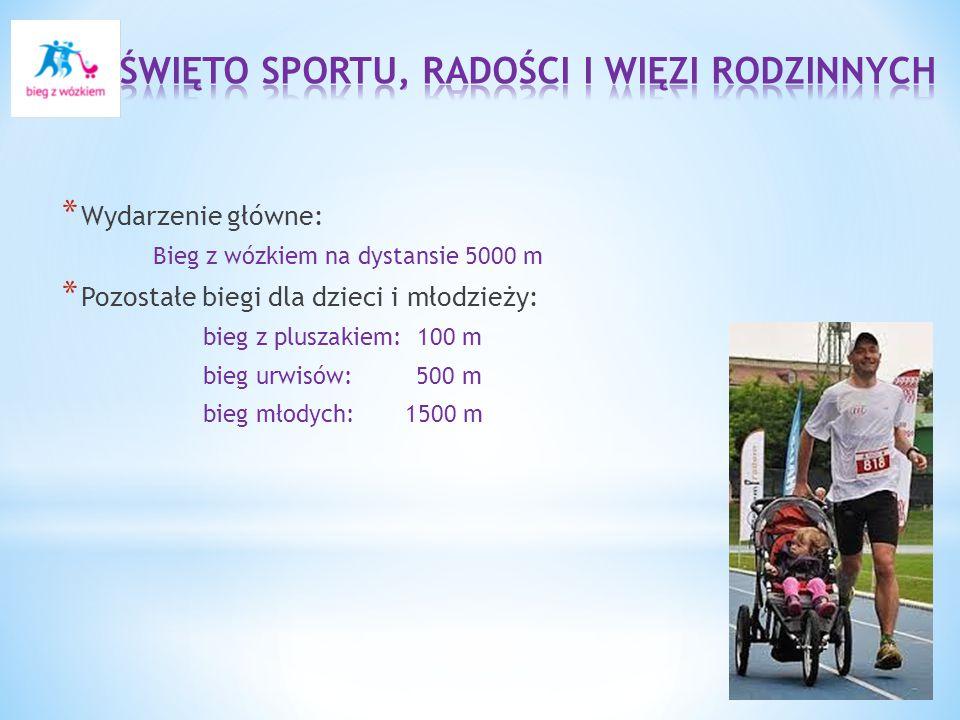* Wydarzenie główne: Bieg z wózkiem na dystansie 5000 m * Pozostałe biegi dla dzieci i młodzieży: bieg z pluszakiem: 100 m bieg urwisów: 500 m bieg młodych: 1500 m