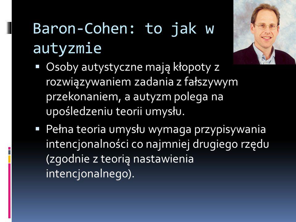 Baron-Cohen: to jak w autyzmie  Osoby autystyczne mają kłopoty z rozwiązywaniem zadania z fałszywym przekonaniem, a autyzm polega na upośledzeniu teo