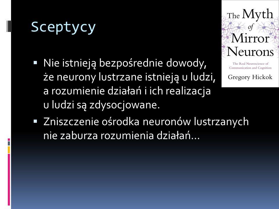 Sceptycy  Nie istnieją bezpośrednie dowody, że neurony lustrzane istnieją u ludzi, a rozumienie działań i ich realizacja u ludzi są zdysocjowane.  Z