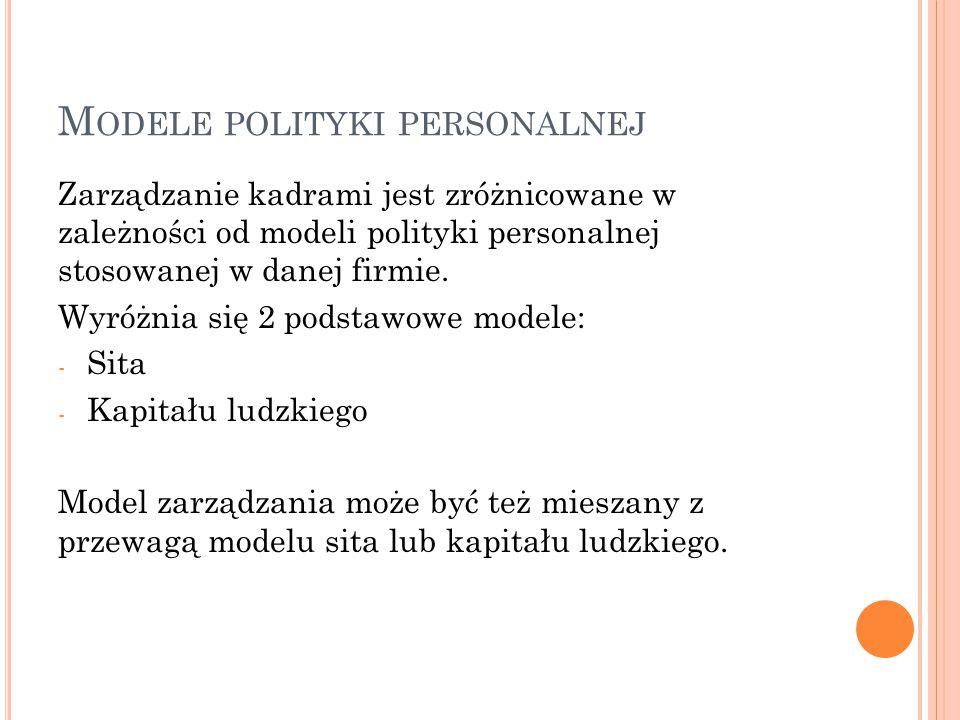 M ODELE POLITYKI PERSONALNEJ Zarządzanie kadrami jest zróżnicowane w zależności od modeli polityki personalnej stosowanej w danej firmie. Wyróżnia się