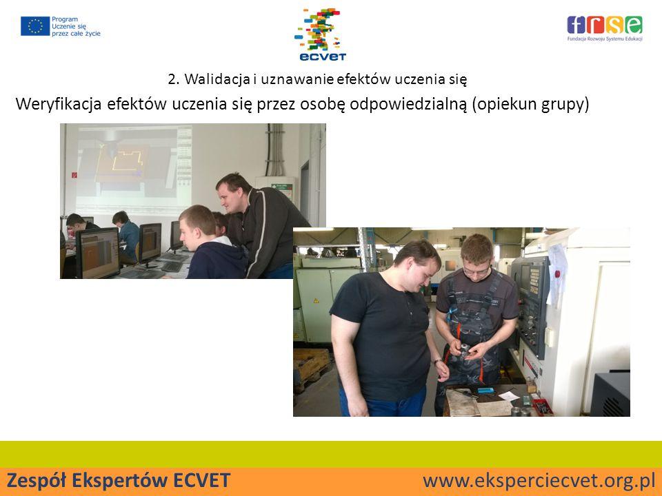 Zespół Ekspertów ECVET www.eksperciecvet.org.pl Weryfikacja efektów uczenia się przez osobę odpowiedzialną (opiekun grupy) 2.