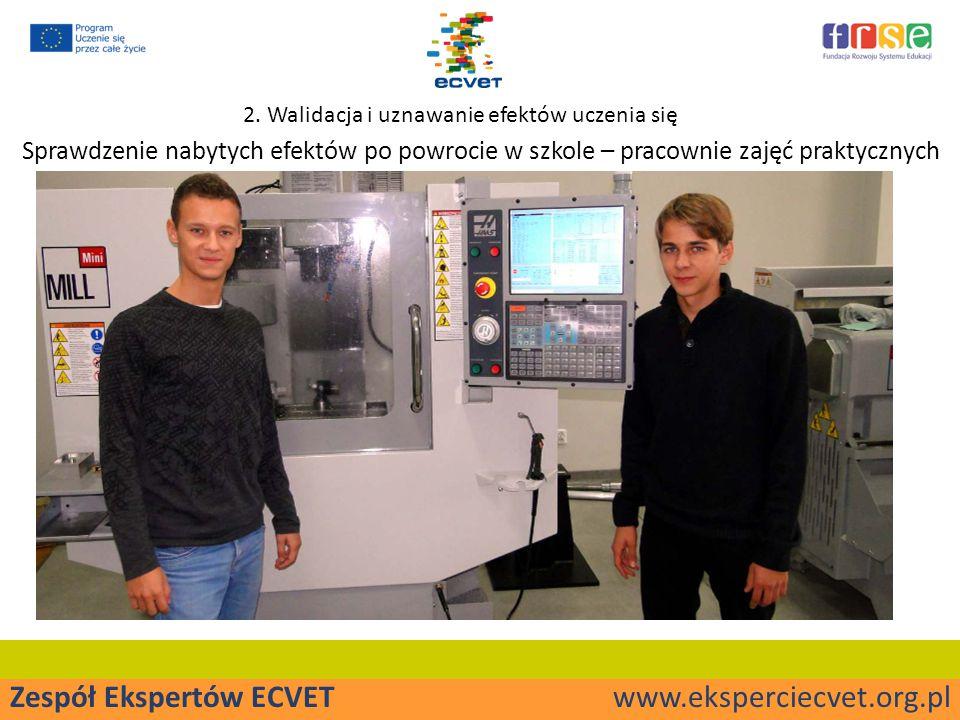 Zespół Ekspertów ECVET www.eksperciecvet.org.pl Sprawdzenie nabytych efektów po powrocie w szkole – pracownie zajęć praktycznych 2.