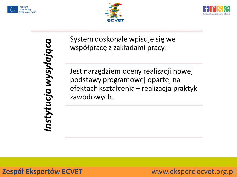 Zespół Ekspertów ECVET www.eksperciecvet.org.pl Instytucja wysyłająca System doskonale wpisuje się we współpracę z zakładami pracy.