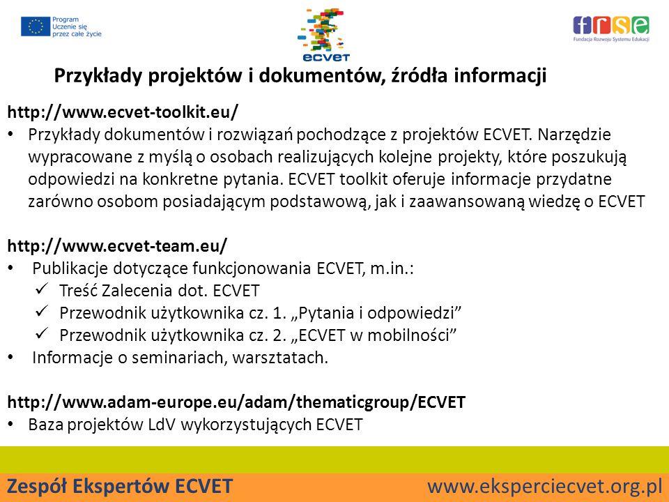 Zespół Ekspertów ECVET www.eksperciecvet.org.pl Przykłady projektów i dokumentów, źródła informacji http://www.ecvet-toolkit.eu/ Przykłady dokumentów i rozwiązań pochodzące z projektów ECVET.