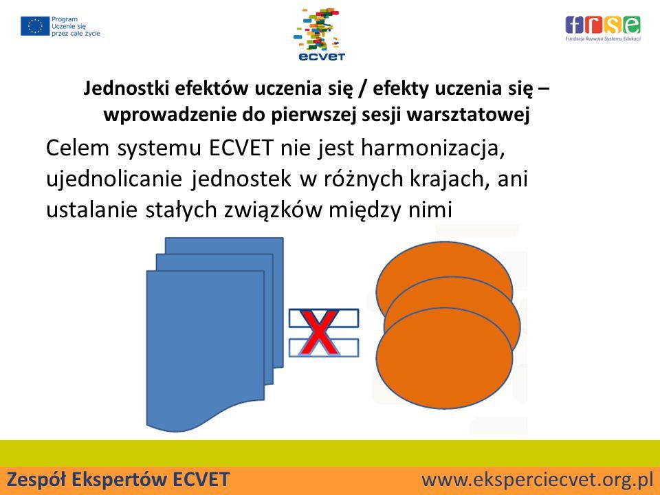 Zespół Ekspertów ECVET www.eksperciecvet.org.pl Jednostki efektów uczenia się / efekty uczenia się – wprowadzenie do pierwszej sesji warsztatowej Celem systemu ECVET nie jest harmonizacja, ujednolicanie jednostek w różnych krajach, ani ustalanie stałych związków między nimi