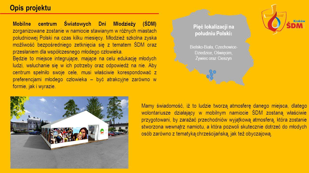 Opis projektu Mobilne centrum Światowych Dni Młodzieży (ŚDM) zorganizowane zostanie w namiocie stawianym w różnych miastach południowej Polski na czas