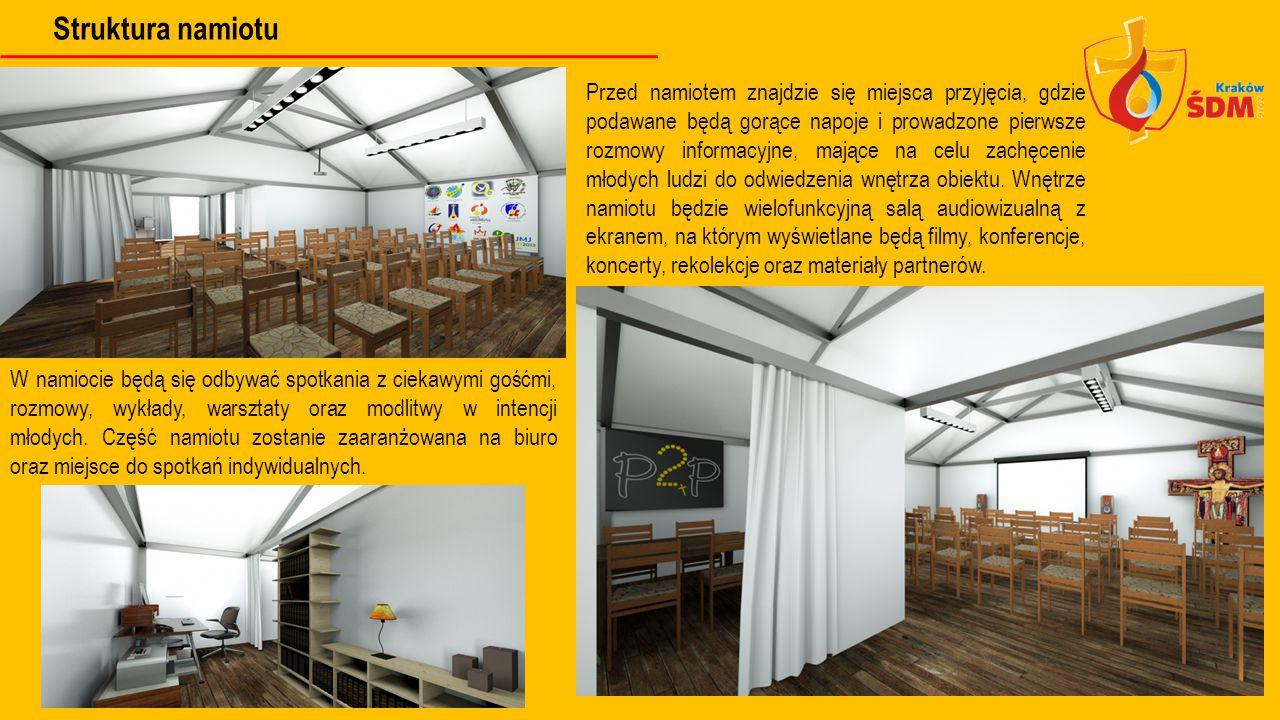Struktura namiotu Przed namiotem znajdzie się miejsca przyjęcia, gdzie podawane będą gorące napoje i prowadzone pierwsze rozmowy informacyjne, mające