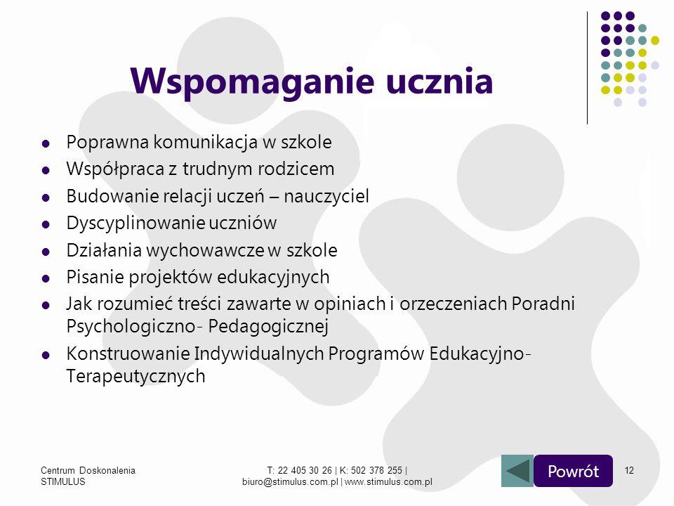 Centrum Doskonalenia STIMULUS T: 22 405 30 26 | K: 502 378 255 | biuro@stimulus.com.pl | www.stimulus.com.pl 12 Wspomaganie ucznia Poprawna komunikacj