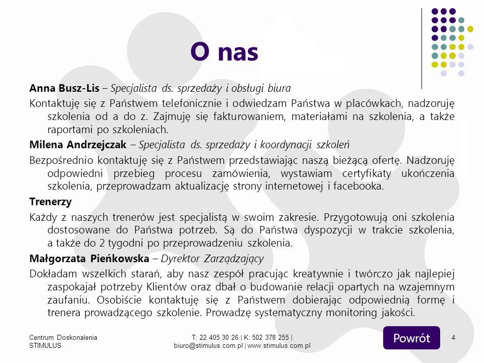 Centrum Doskonalenia STIMULUS T: 22 405 30 26   K: 502 378 255   biuro@stimulus.com.pl   www.stimulus.com.pl 5 Polecane Ocenianie kształtujące Budowanie współpracy w zespole Seksualność dzieci i młodzieży Sześciolatek w szkole – Priorytet MEN Działania wspomagające ucznia (ADHD, Asperger, Autyzm, zaburzenia emocjonalne i odżywiania) Współpraca z mediami Powrót