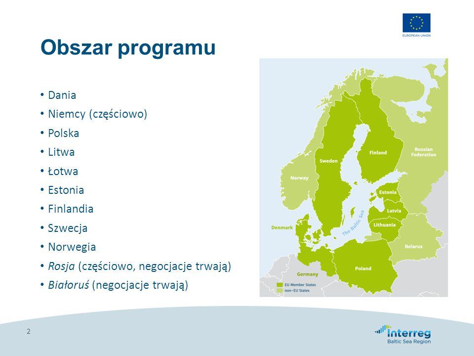 Budżet programu i poziomy dofinansowania dla partnerów 3 Dostępne środki: 264 mln euro (Europejski Fundusz Rozwoju Regionalnego – EFRR) + 5,5 mln euro środków norweskich + 8,8 mln euro (Europejski Instrument Sąsiedztwa – EIS) Wysokość dofinansowania: 75% (Niemcy, Dania, Szwecja, Finlandia) 85% (Estonia, Litwa, Łotwa, Polska, Rosja, Białoruś), 50% (Norwegia)