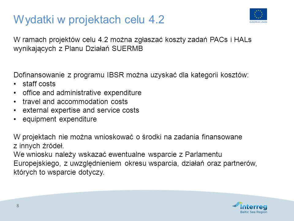 8 Wydatki w projektach celu 4.2 W ramach projektów celu 4.2 można zgłaszać koszty zadań PACs i HALs wynikających z Planu Działań SUERMB Dofinansowanie