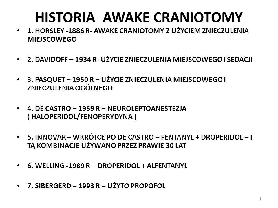 HISTORIA AWAKE CRANIOTOMY 1. HORSLEY -1886 R- AWAKE CRANIOTOMY Z UŻYCIEM ZNIECZULENIA MIEJSCOWEGO 2. DAVIDOFF – 1934 R- UŻYCIE ZNIECZULENIA MIEJSCOWEG