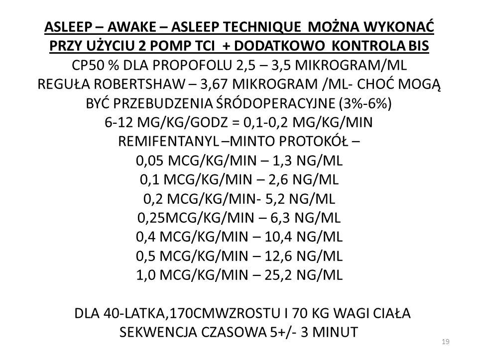 ASLEEP – AWAKE – ASLEEP TECHNIQUE MOŻNA WYKONAĆ PRZY UŻYCIU 2 POMP TCI + DODATKOWO KONTROLA BIS CP50 % DLA PROPOFOLU 2,5 – 3,5 MIKROGRAM/ML REGUŁA ROB