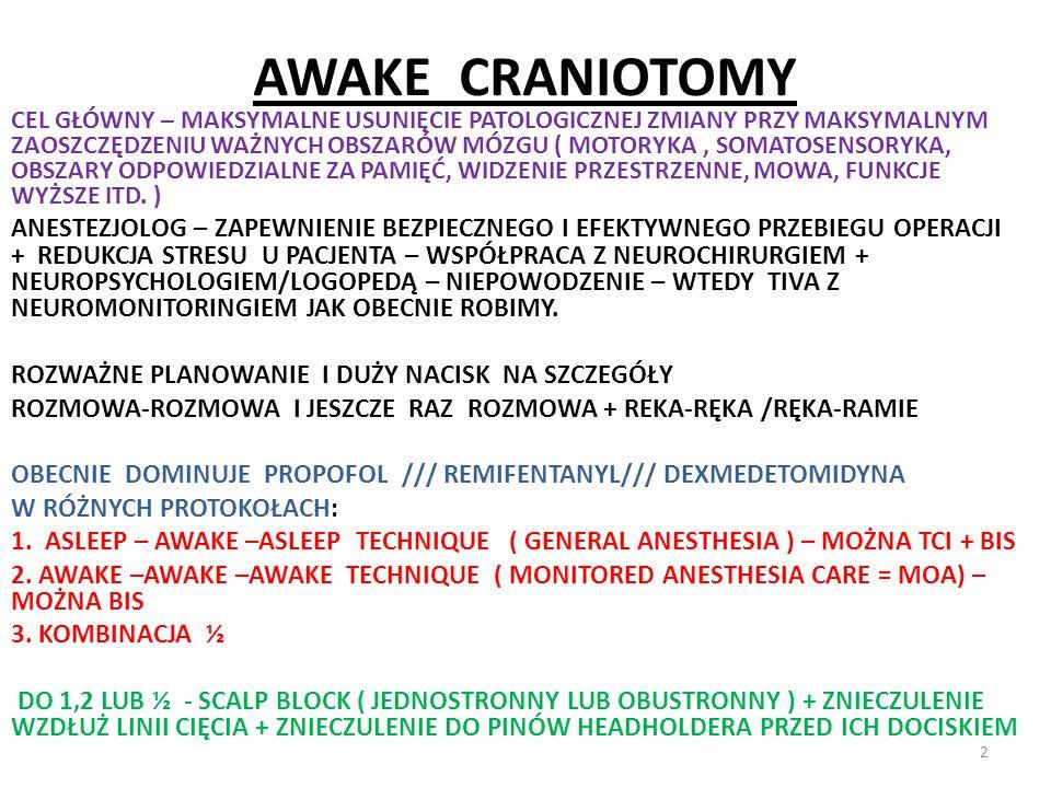 AWAKE CRANIOTOMY CEL GŁÓWNY – MAKSYMALNE USUNIĘCIE PATOLOGICZNEJ ZMIANY PRZY MAKSYMALNYM ZAOSZCZĘDZENIU WAŻNYCH OBSZARÓW MÓZGU ( MOTORYKA, SOMATOSENSO