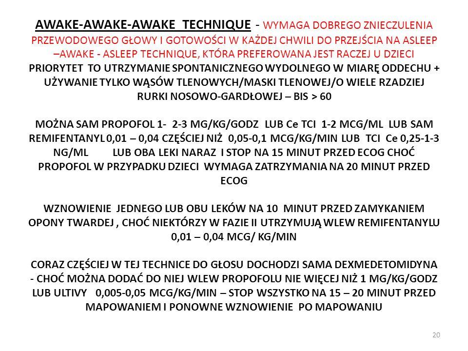 AWAKE-AWAKE-AWAKE TECHNIQUE - WYMAGA DOBREGO ZNIECZULENIA PRZEWODOWEGO GŁOWY I GOTOWOŚCI W KAŻDEJ CHWILI DO PRZEJŚCIA NA ASLEEP –AWAKE - ASLEEP TECHNI