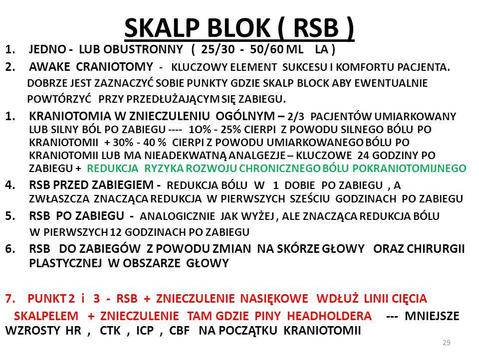 SKALP BLOK ( RSB ) 1.JEDNO - LUB OBUSTRONNY ( 25/30 - 50/60 ML LA ) 2.AWAKE CRANIOTOMY - KLUCZOWY ELEMENT SUKCESU I KOMFORTU PACJENTA. DOBRZE JEST ZAZ