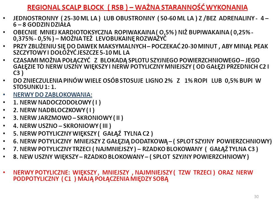 REGIONAL SCALP BLOCK ( RSB ) – WAŻNA STARANNOŚĆ WYKONANIA 30 JEDNOSTRONNY ( 25-30 ML LA ) LUB OBUSTRONNY ( 50-60 ML LA ) Z /BEZ ADRENALINY - 4 – 6 – 8