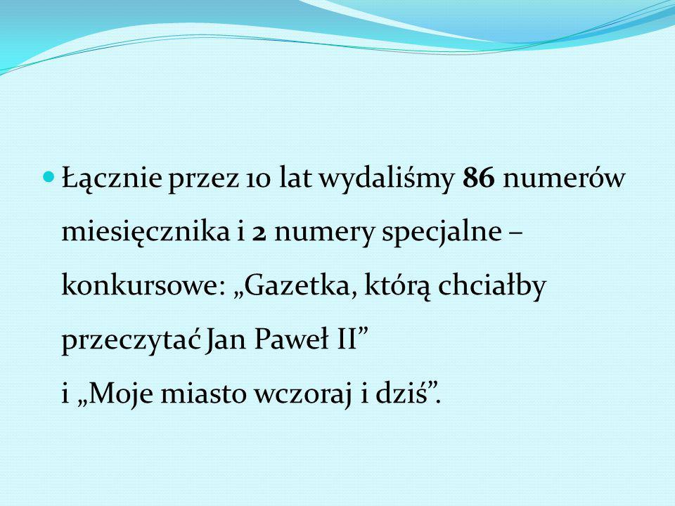 """Łącznie przez 10 lat wydaliśmy 86 numerów miesięcznika i 2 numery specjalne – konkursowe: """"Gazetka, którą chciałby przeczytać Jan Paweł II i """"Moje miasto wczoraj i dziś ."""